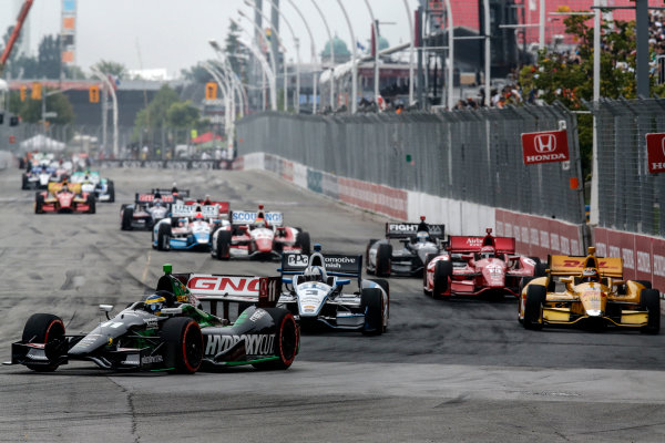 20 July, 2014, Toronto, Ontario, Canada Sebastien Bourdais leads into the first corner ©2014, Michael L. Levitt LAT Photo USA