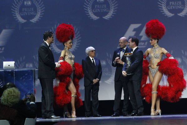 2013 FIA Gala Dinner and Awards. Paris, France. Friday 6th December 2013. Bernie Ecclestone on stage with F1 Constructors Champions Adrian Newey and Christian Horner of Red Bull Racing. World Copyright & Mandatory Credit: FIA. ref: Digital Image 11289258565_d19aa3570b_o