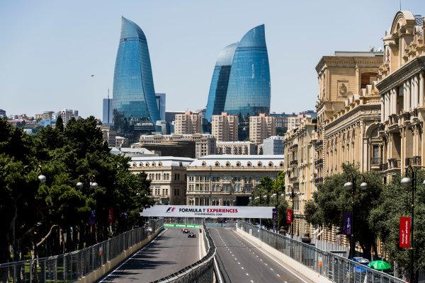 2017 FIA Formula 2 Round 4. Baku City Circuit, Baku, Azerbaijan. Friday 23 June 2017. Oliver Rowland (GBR, DAMS), Sergio Canamasas (ESP, Trident), Charles Leclerc (MCO, PREMA Racing). Photo: Zak Mauger/FIA Formula 2. ref: Digital Image _56I6644