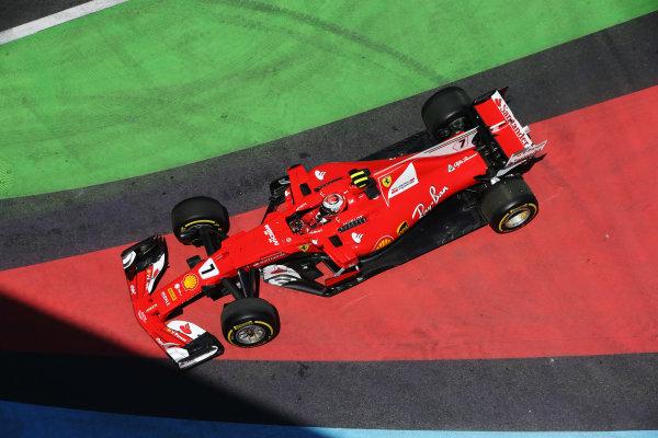 Kimi Raikkonen, Ferrari SF70H, drives down an escape road in FP1.