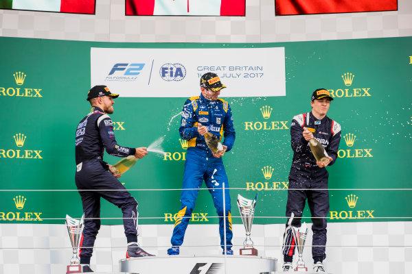 2017 FIA Formula 2 Round 6. Silverstone, Northamptonshire, UK. Sunday 16 July 2017. Luca Ghiotto (ITA, RUSSIAN TIME), Nicholas Latifi (CAN, DAMS), Artem Markelov (RUS, RUSSIAN TIME).  Photo: Zak Mauger/FIA Formula 2. ref: Digital Image _56I0780