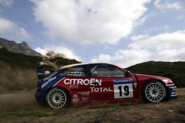 2003 FIA World Rally Champs. Round Twelve Corsica Rally 16th-19th October 2003.Carlos Sainz, Citroen, action. World Copyright: McKlein/LAT
