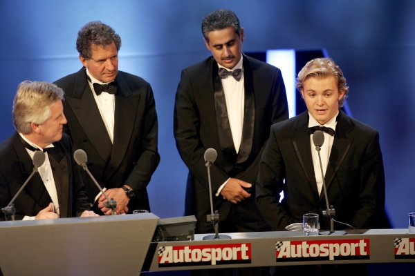 2005 Autosport Awards Grosvenor House, London. 4th December. Jody Scheckter and Zayed Al Zayani from Bahrain International Circuit present the Innovation Award to the GP2 series. World Copyright: Malcolm Griffiths/LAT Photographic ref: Digital Image Only