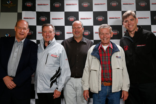 11-24  May, 2013, Indianapolis, Indiana, USA.T E. McHale of Honda, Johnny Rutherford, Kevin Miller of USAC, Bobby Unser and Steve Erickson of HPD announce a major sponsorship, partnership and supply for USAC's 3 midget championships © 2013, Michael L. Levitt LAT Photo USA.