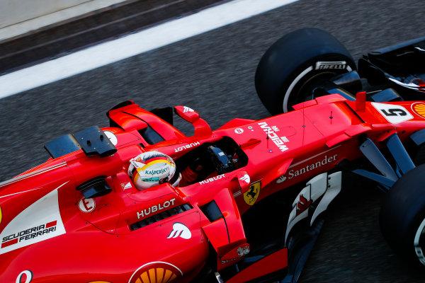 Yas Marina Circuit, Abu Dhabi, United Arab Emirates. Wednesday 29 November 2017. Sebastian Vettel, Ferrari SF70H.  World Copyright: Zak Mauger/LAT Images  ref: Digital Image _O3I1707