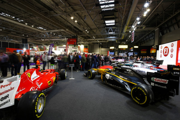 Autosport International Exhibition. National Exhibition Centre, Birmingham, UK. Sunday 14th January 2018. The F1 Racing Stand.World Copyright: Mike Hoyer/JEP/LAT Images Ref: AQ2Y9732