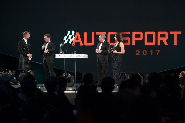 2017 Autosport Awards Grosvenor House Hotel, Park Lane, London. Sunday 3 December 2017. Christian Horner and Martin Brundle on stage with Presenters Lee McKenzie and David Coulthard. World Copyright: Zak Mauger/LAT Images  ref: Digital Image _O3I6583
