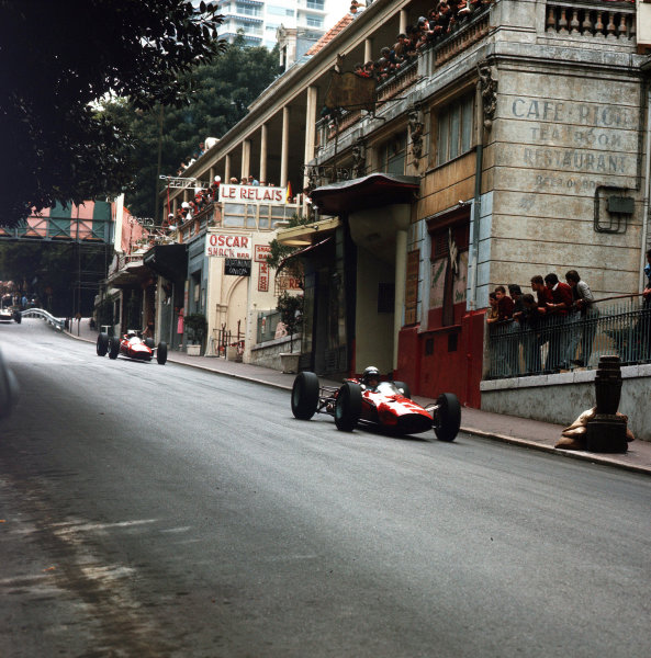 Monte Carlo, Monaco.28-30 May 1965.Lorenzo Bandini (Ferrari 1512) leads John Surtees (Ferrari 158). They finished in 2nd and 4th positions respectively.Ref-3/1629.World Copyright - LAT Photographic