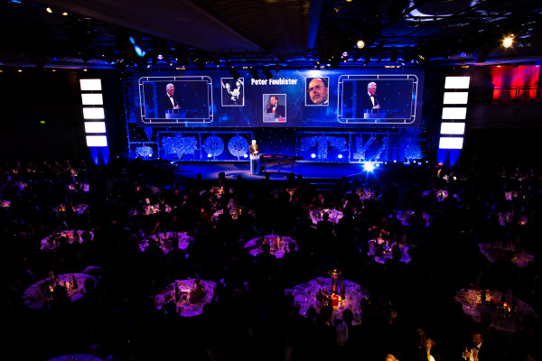 2016 Autosport Awards. Grosvenor House Hotel, Park Lane, London. Sunday 4 December 2016.  Steve Rider pays tribute to the late Peter Foubister.   World Copyright: /LAT Photographic. ref: Digital Image 580A6273