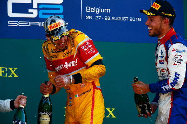 2016 GP2 Series Round 8.  Spa-Francorchamps, Spa, Belgium. Sunday 28 August 2016. Antonio Giovinazzi (ITA, PREMA Racing), Luca Ghiotto (ITA, Trident)  Photo: Zak Mauger/GP2 Series Media Service. ref: Digital Image _L0U2151