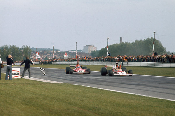 1974 Belgian Grand Prix  Nivelles-Baulers, Belgium. 10-12th May 1974.  Emerson Fittipaldi, McLaren M23 Ford, wins ahead of Niki Lauda, Ferrari 312B3.  Ref: 74BEL12. World Copyright: LAT Photographic