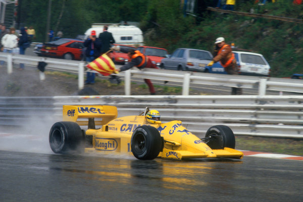 1987 Belgian Grand Prix. Spa-Francorchamps, Belgium. 15th - 17th May 1987. Ayrton Senna (Lotus 99T-Honda), retired, action. World Copyright: LAT Photographic. Ref: 87BELa