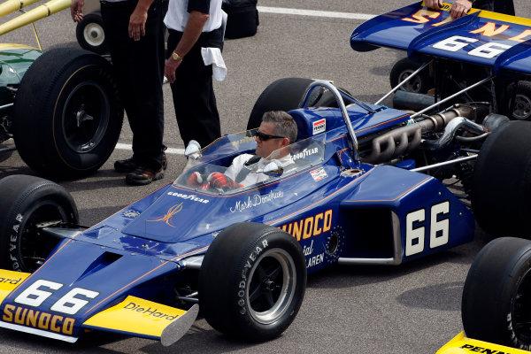 29 May, 2011, Indianapolis, Indiana, USAGil de Ferran at the wheel of Mark Donohue's 1972 winning McLaren.© 2011 Phillip AbbottLAT Photo USA