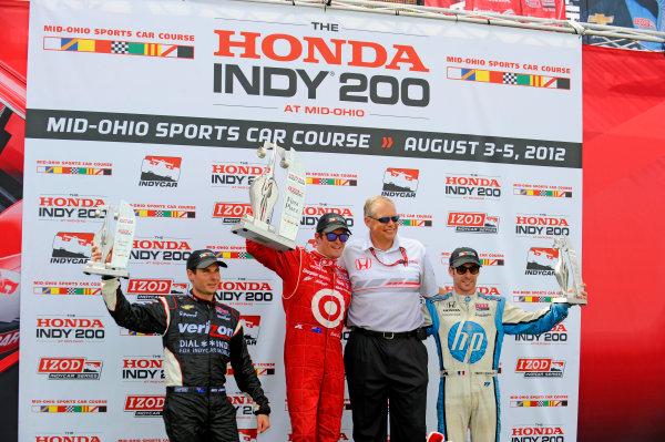 3-5 August, 2012, Lexington, Ohio USA(L to R): Will Power (2nd), winner Scott Dixon and Simon Pagenaud (3rd) in Victory Lane.(c)2012, F. Peirce WilliamsLAT Photo USA
