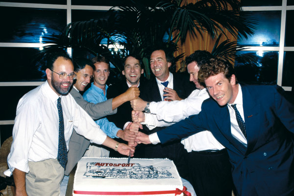 Roof Gardens, Kensington, England.Former Editors and son of founding member, Gregor Grant, cut a cake. L-R, Peter Foubister, Quentin Spurring, Andy Hallbery, Simon Taylor, Ian Phillips, Don Grant and Bruce Jones.World Copyright: LAT Photographic.