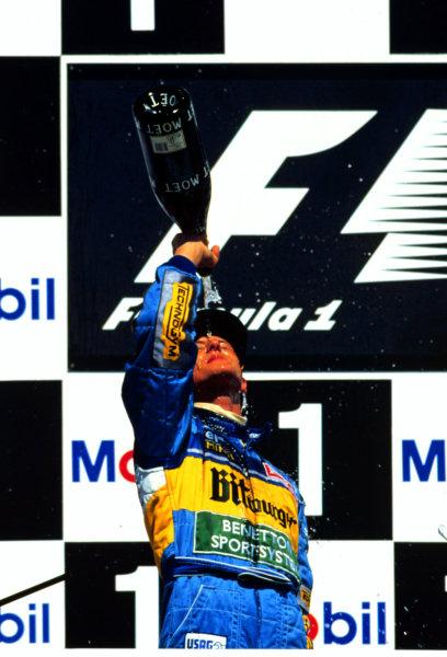 1995 German Grand Prix.Hockenheim, Germany.28-30 July 1995.Michael Schumacher (Benetton B195 Renault) 1st position.World Copyright - LAT Photographic