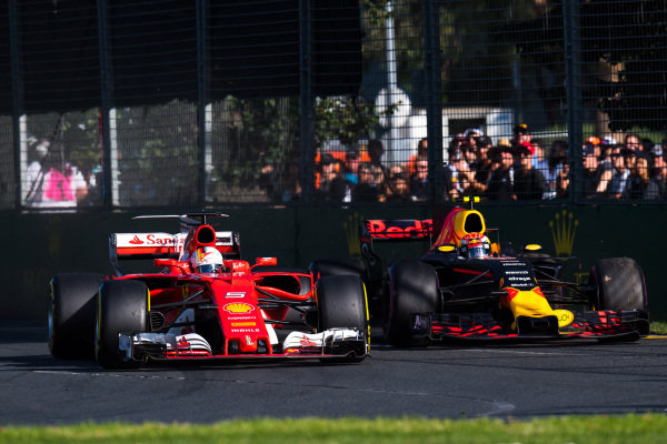 Sebastian Vettel (GER) Ferrari SF70-H and Max Verstappen (NED) Red Bull Racing RB13 battle at Formula One World Championship, Rd1, Australian Grand Prix, Race, Albert Park, Melbourne, Australia, Sunday 26 March 2017. BEST IMAGE
