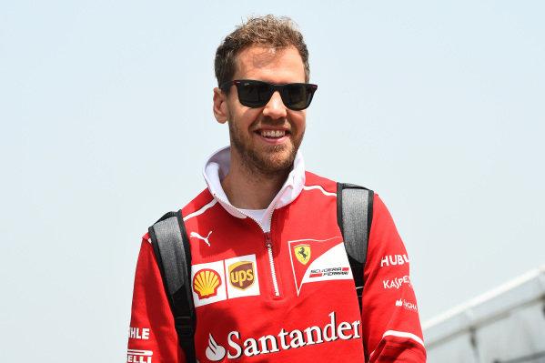 Sebastian Vettel (GER) Ferrari at Formula One World Championship, Rd2, Chinese Grand Prix, Qualifying, Shanghai, China, Saturday 8 April 2017.
