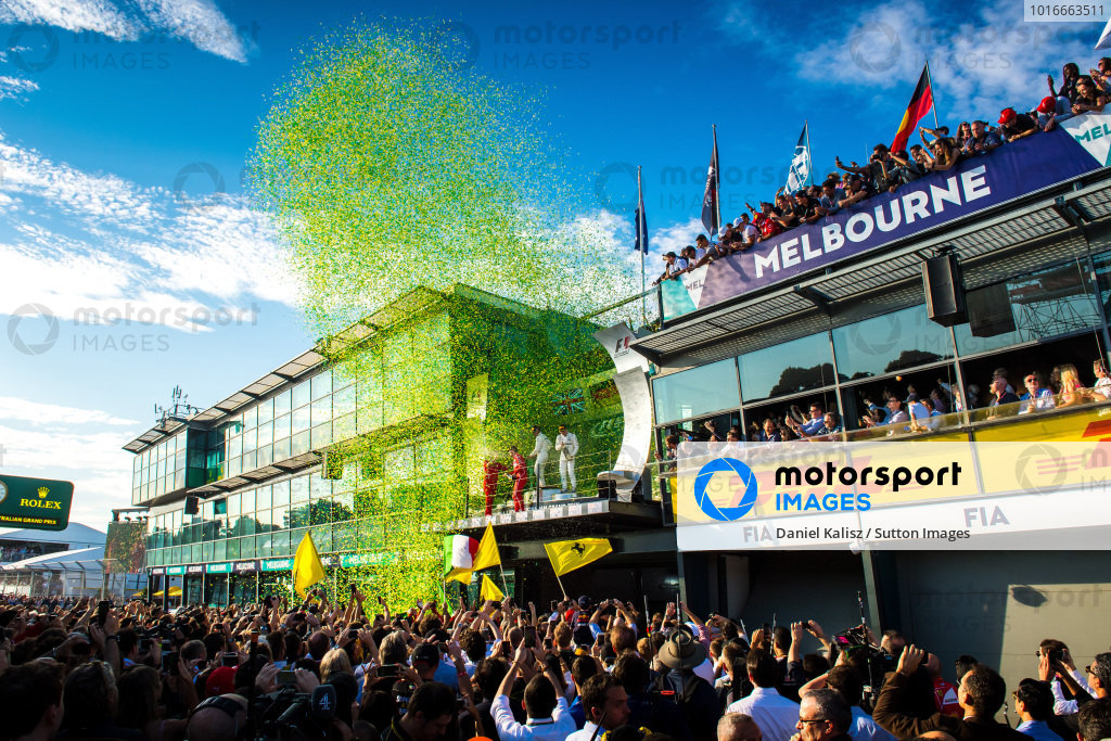 Podium celebrations at Formula One World Championship, Rd1, Australian Grand Prix, Race, Albert Park, Melbourne, Australia, Sunday 26 March 2017.