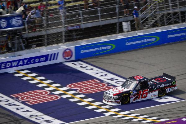 #16: Austin Hill, Hattori Racing Enterprises, Toyota Tundra Hino, AISIN Group takes the checkered flag