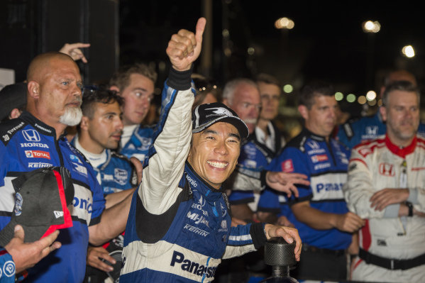 Takuma Sato, Rahal Letterman Lanigan Racing Honda reacts to fans after win.