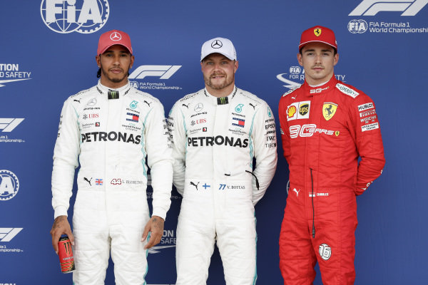 Lewis Hamilton, Mercedes AMG F1, Pole Sitter Valtteri Bottas, Mercedes AMG F1 and Charles Leclerc, Ferrari in Parc Ferme