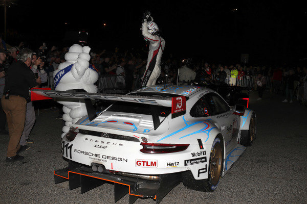 #911 Porsche Team North America Porsche 911 RSR, GTLM: Patrick Pilet, Nick Tandy, Frederic Makowiecki celebrate in victory lane
