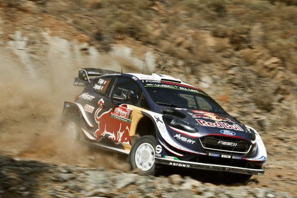 Sébastien Ogier, M-Sport Ford, Ford Fiesta WRC 2018, sliding on the rocky surface