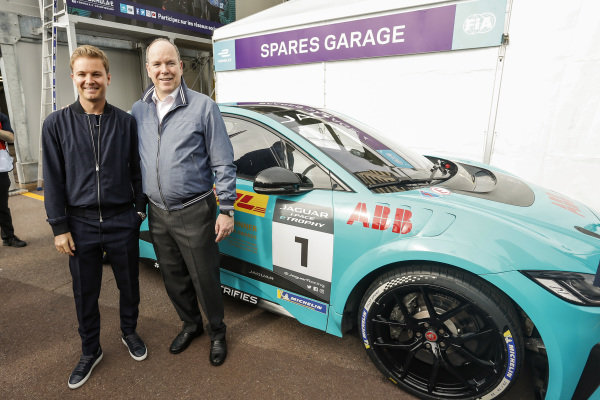 Nico Rosberg, Formula E investor, with Albert II, Prince of Monaco and the Jaguar I-Pace eTrophy car