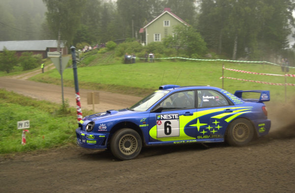 2001 World Rally Championship.Neste Rally Finland. Jyvaskyla, August 24-26, 2001.Petter Solberg on stage 10.Photo: Ralph Hardwick/LAT