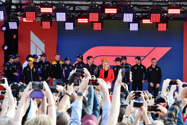 The drivers on stage at the Federation Square event at the Federation Square event