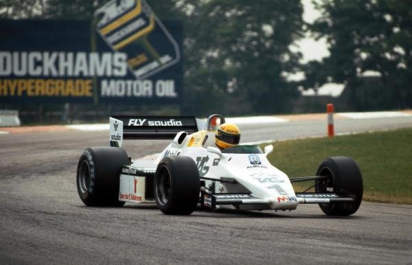 Ayrton Senna (BRA) tests the Williams FW08C for the first time. Formula One Testing, Donington Park, England, 19 July 1983.