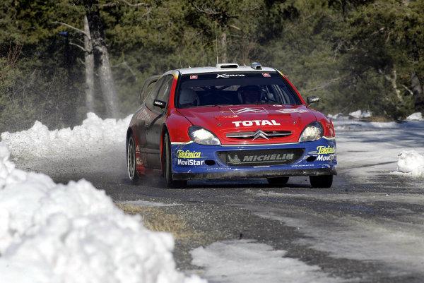 2003 FIA World Rally Championship. Monte Carlo, Monaco. Rd1.23-26 January 2003.Carlos Sainz/Marc Marti (Citroen Xsara) 3rd position. World Copyright: McKlein/LAT Photographic