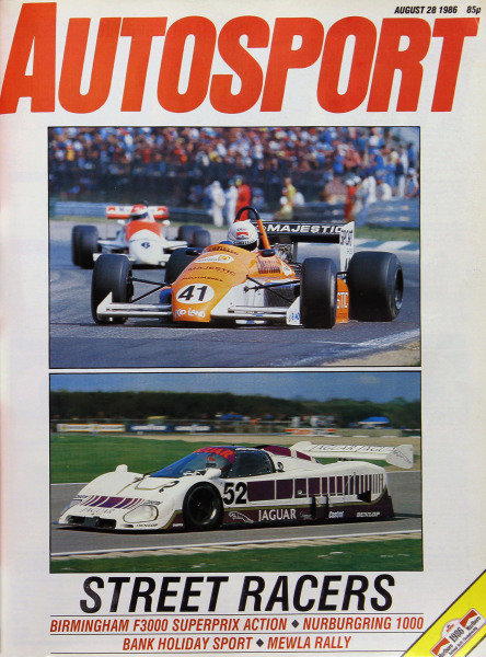 Cover of Autosport magazine, 28th August 1986