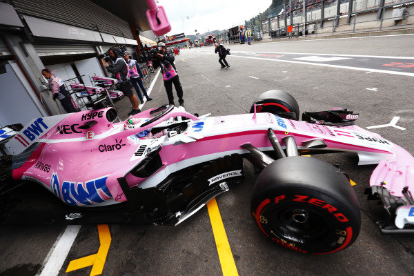 Sergio Perez, Racing Point Force India VJM11, exits his pit garage.