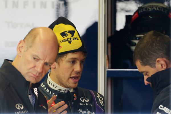 Sebastian Vettel (GER) Red Bull Racing with Adrian Newey (GBR) Red Bull Racing Chief Technical Officer and Guillaume Rocquelin (FRA) Red Bull Racing Race Engineer. Formula One Testing, Day 3, Jerez, Spain, Thursday 7 February 2013.