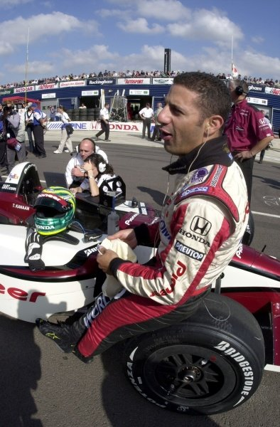 Tony Kanaan prior to qualifying for the Rockingham 500.  Rockingham Motor Speedway, Corby, GBR.  13  Sept., 2002. CC15A