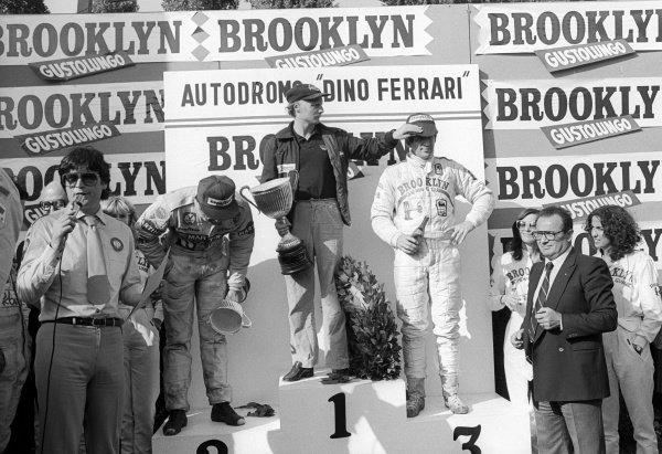 The podium (L to R): Carlos Reutemann (ARG), Lotus, second; Niki Lauda (AUT) Brabham, race winner; Jody Scheckter (RSA) Ferrari third.Non-championship Formula One, Gran Premio Dino Ferrari, Italy, Imola, 16 September 1979.