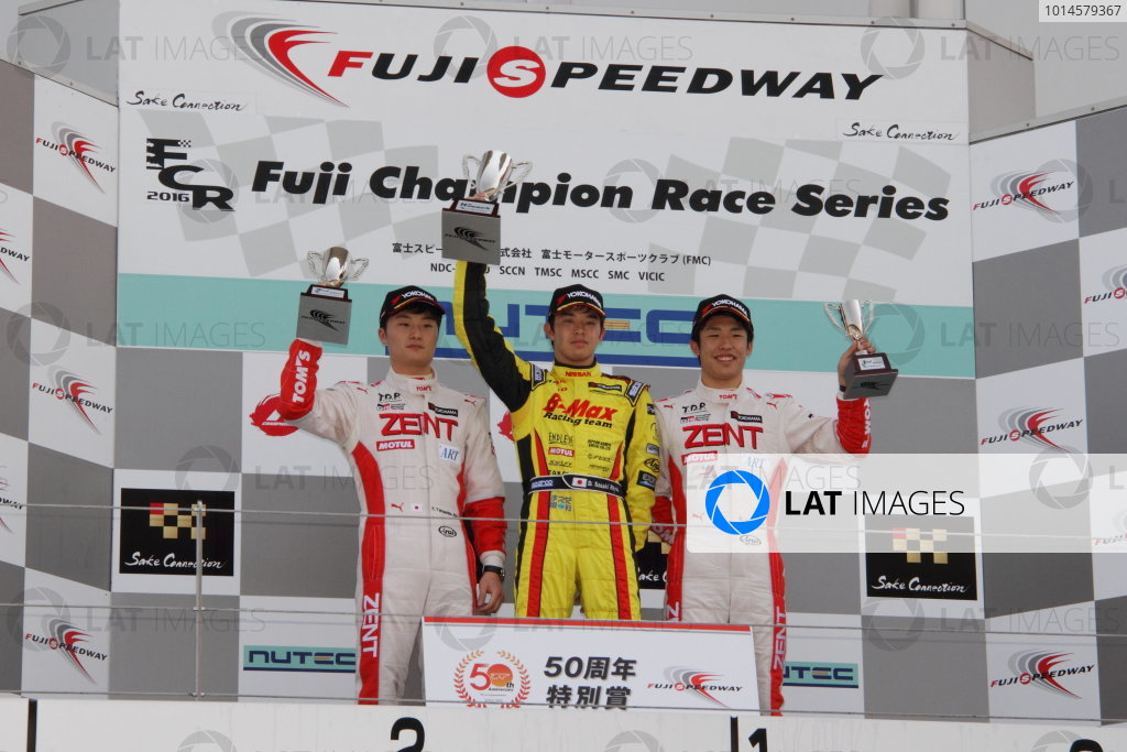 2016 Japanese Formula 3 Championship Fuji, Japan. 14th-15th May 2016. Rd 3 & 4. Winner Daiki Sasaki  ( #21 B-MAX NDDP F3 ) on the podium with 2nd position JKenta Yamashita ( #36 ZENT TOM'S F312 ) and 3rd position Sho Tsuboi ( #37 ZENT TOM'S F314 ). World Copyright: Hideaki Kobayashi/LAT Ref: (filenamebase}