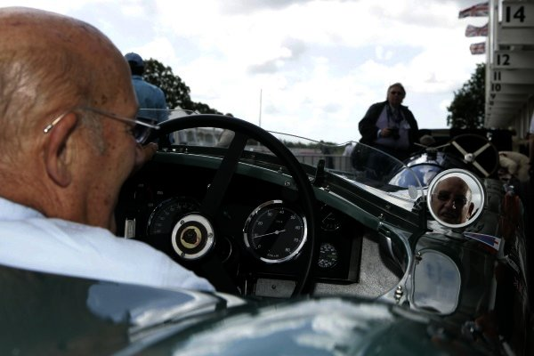 2007 Goodwood Revival Press Day.  Goodwood, West Sussex. 18th July 2007.  Sir Stirling Moss looks in his mirror. World Copyright: Gary Hawkins/LAT Photographic.  Ref: Digital Image Only.