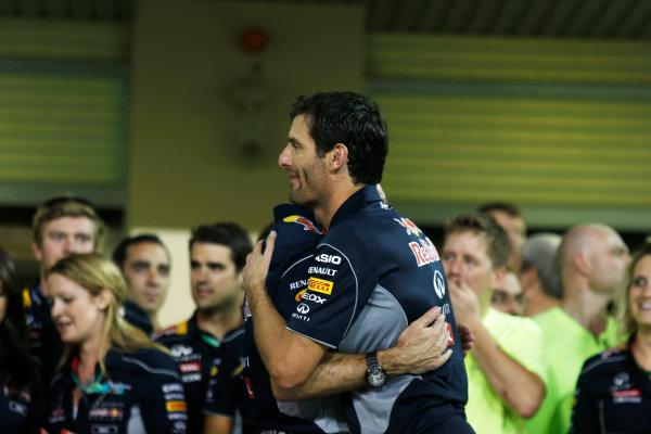 Yas Marina Circuit, Abu Dhabi, United Arab Emirates. Sunday 3rd November 2013. Mark Webber, Red Bull Racing, 2nd position, and the Red Bull team celebrate. World Copyright: Charles Coates/LAT Photographic. ref: Digital Image _N7T9374