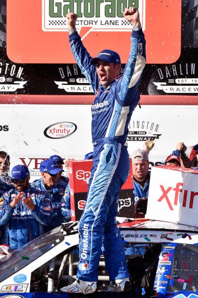 3 September, 2016, Darlington, South Carolina USA Elliott Sadler celebrates winning the SportClips 200 in Victory Lane ? 2016, Nigel Kinrade LAT Photo USA
