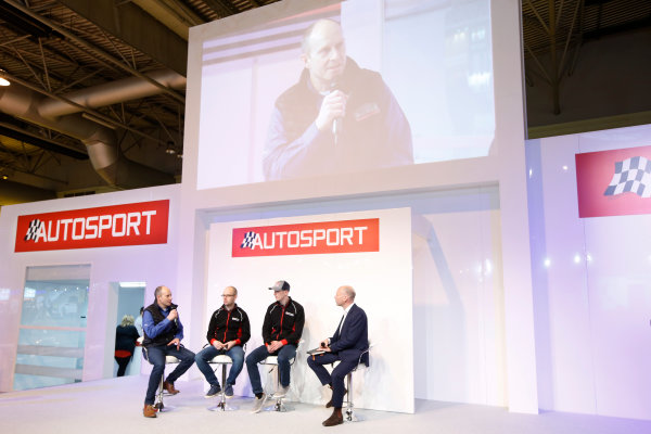 Autosport International Exhibition. National Exhibition Centre, Birmingham, UK. Thursday 12 January 2017. Ben Taylor, Elfyn Evans and co-driver Ben Taylor join Toby Moody on the Autosport Stage. World Copyright: Sam Bloxham/LAT Photographic. Ref: _SLB4356