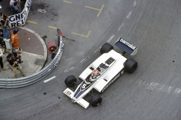 1981 Monaco Grand Prix.Monte Carlo, Monaco. 28-31 May 1981.Nelson Piquet (Brabham BT49C-Ford Cosworth), retired.World Copyright: LAT PhotographicRef: 35mm transparency 81MON64