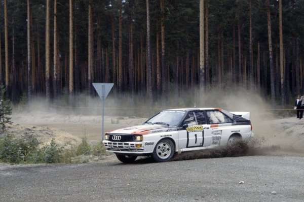1983 World Rally Championship. Rally of 1000 Lakes, Finland. 26-28 August 1983. Hannu Mikkola/Arne Hertz (Audi Quattro A2), 1st position. World Copyright: LAT Photographic Ref: 35mm transparency 83RALLY07