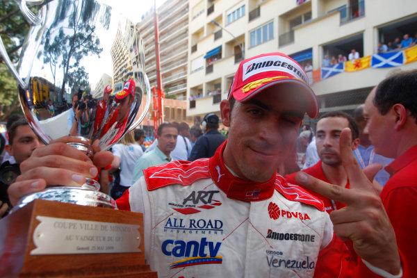 Saturday Race. 23rd May 2009. Pastor Maldonado (VEN, ART Grand Prix) celebrates his victory. World Copyright: Alastair Staley / GP2 Series Media Service.Ref: _H3A5529 jpg