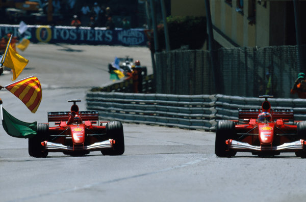 Monte Carlo, Monaco. 29th May 2001. Michael Schumacher celebrates a dominant race victory with Rubens Barrichello finishing a strong 2nd.World Copyright: Charles Coates/LAT Photographic ref: 01MON23