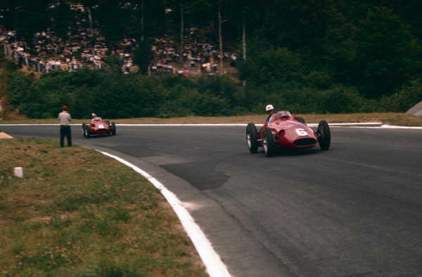 Rouen-Les-Essarts, France. 5-7 July 1957. Harry Schell leads Carlos Menditeguy (both Maserati 250F). Ref-57 FRA 16. World Copyright - LAT Photographic