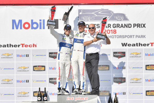 #67 Chip Ganassi Racing Ford GT, GTLM: Ryan Briscoe, Richard Westbrook celebrates the win on the podium