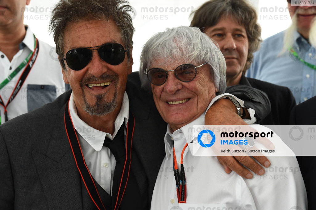 Al Pacino (USA) and Bernie Ecclestone (GBR) CEO Formula One Group (FOM) at Formula One World Championship, Rd7, Canadian Grand Prix, Race, Montreal, Canada, Sunday 7 June 2015.